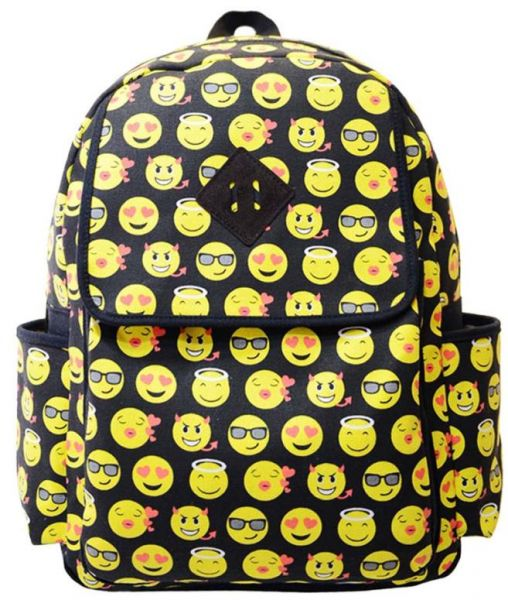 96fc3f5535 Canvas Backpacks Smiley Emoji Face Printing School Bags For ...