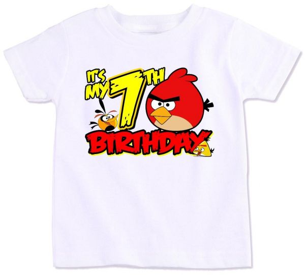 Angry Bird With Its My 7Th Birthday T Shirt