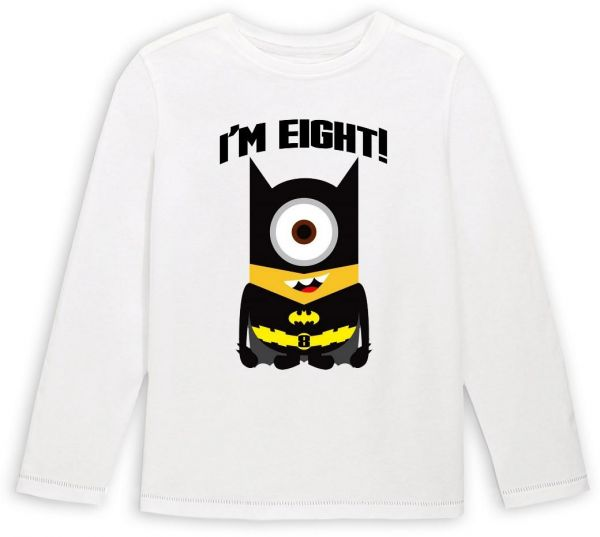 Batman Minion With IM Eight Birthday Long Sleeved T Shirt