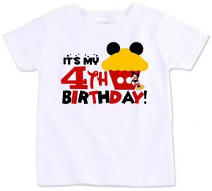 Mickey Mouse Cupcake With Its My 4Th Birthday T Shirt