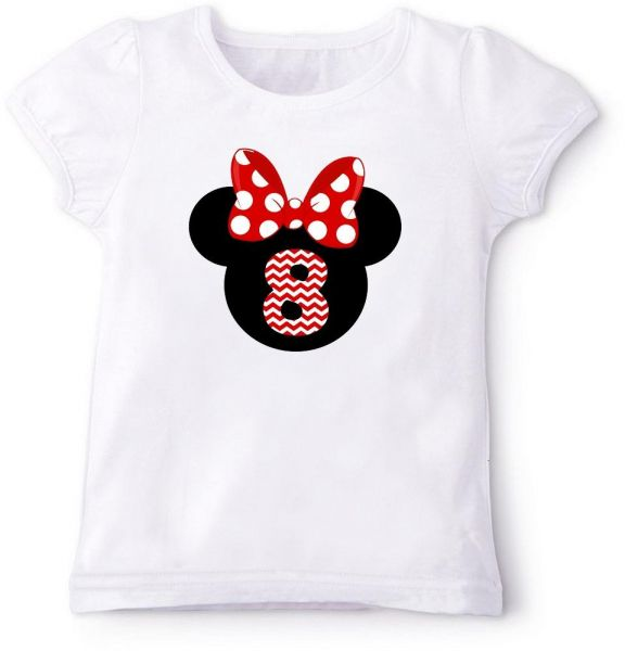 Minnie Mouse Silhouette With Red Bow 8Th Birthday T Shirt