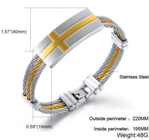 Fashion Anium Steel Individual Cross Inlay Gold Men Bracelet As Fine Gift For Male B123 Gh754