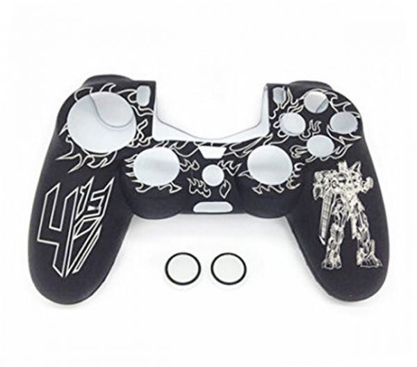 For PlayStation 4 PS4 Controller - Transformer Silicone Case and Thumbstick  Caps - Black White