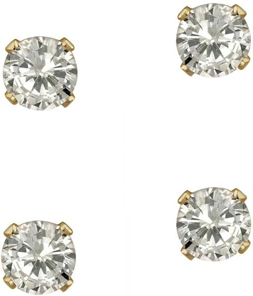 Golden Essentials 10k Solid Gold Cubic Zirconia Earrings 2 Pairs Esd10kcz578