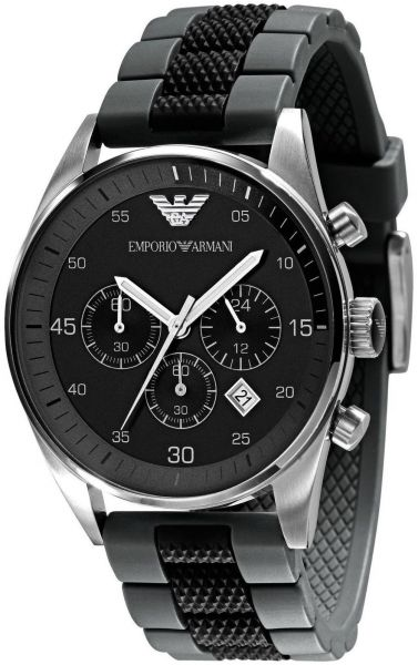 6ae8c146ae3 Emporio Armani Sportivo Men s Black Dial Silicone Band Chronograph Watch -  AR5866