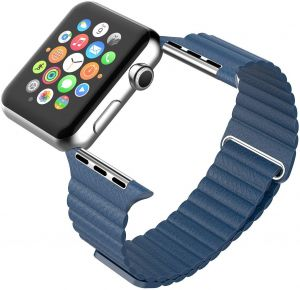 Magnetic Leather Wrist Loop Strap for Apple Watch 42mm - Midnight Blue 94447d4b44