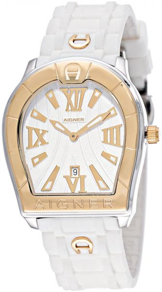 new lower prices unique design undefeated x Aigner Verona Men's White Dial Silicone Band Watch - A48014 ...