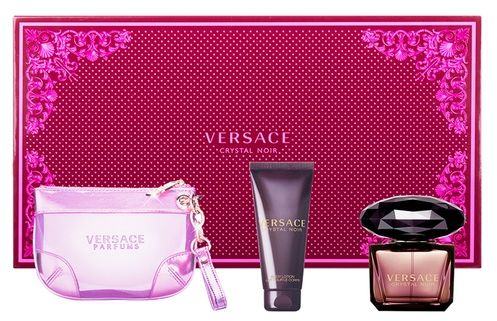 Versace Crystal Noir 3 Pc Edp 90ml Body Lotion And Hand Bag 100ml