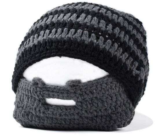 6a3c2592490 Mens Handmade Knitted Beard Hat Mustache Bicycle Mask Ski Cap Warm Knight  Crochet Beard Mask
