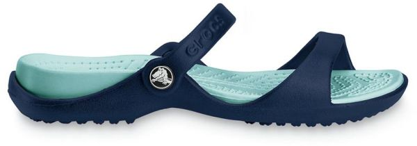 2fd7371e49c75 Crocs 10043 Cleo Flat Sandals For Women - Navy Blue And Sea Foam