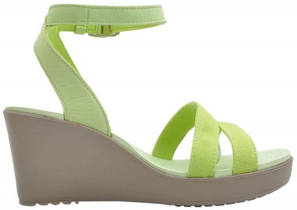 f065dd7ad9da crocs women s leigh wedge sandal Crocs 11382 Leigh Wedges Sandals For Women  - Crisp Green And