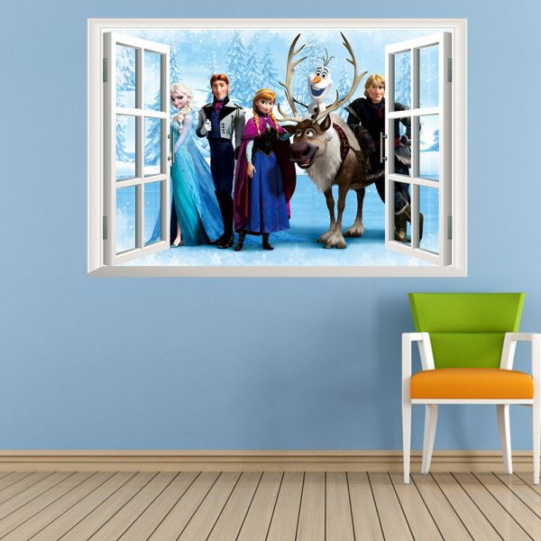 Frozen Wall Stickers Home Decor Window Wall Stickers Removable 3d Wall  Decals Art Of Frozen Kid Room