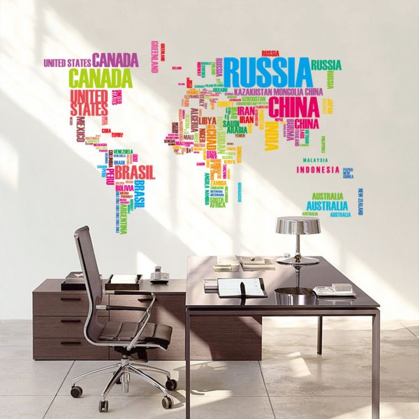 World Map Wall Art Stickers.Colorful Letters World Map Wall Stickers Living Room Home