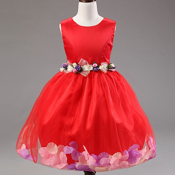 be75acd8c4cd Red Mix Pageant Flower Girls Princess Dress Kids Party Wedding ...