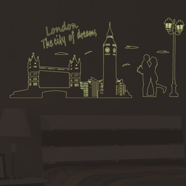 London in the light of fluorescent wall stickers london city print living room stickers home decor