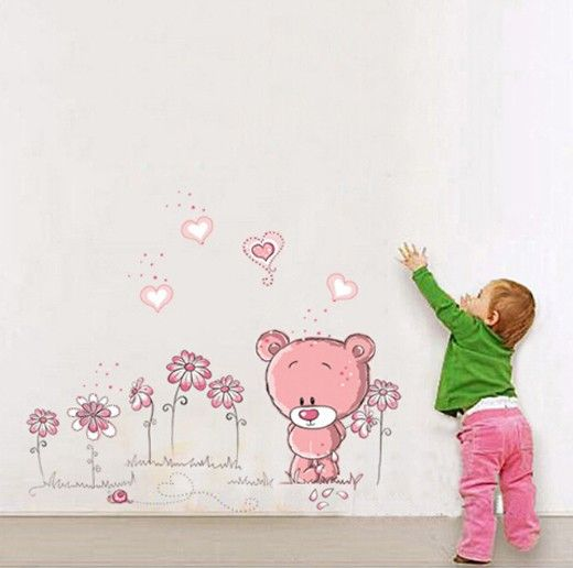 removable cute bear wall stickers home docor nursery girl kid room