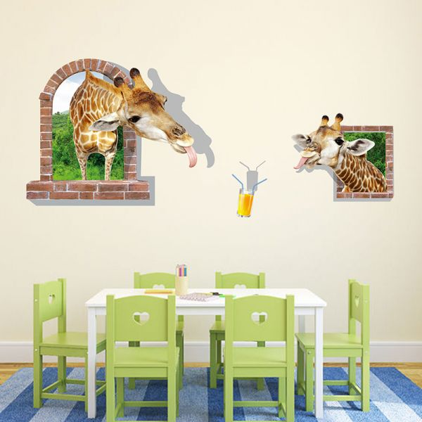 creative wall stickers giraffe mural for living room bedroom
