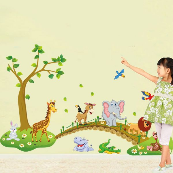 Forest Animal Cartoon Removable Wall Stickers For Kids Rooms Home ...