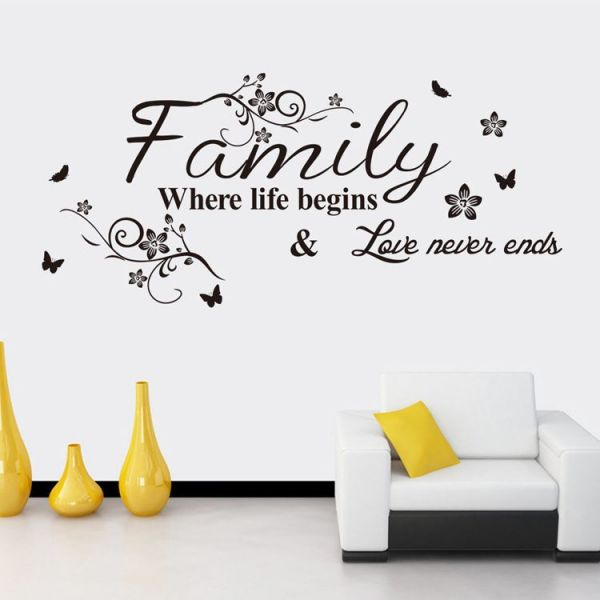 love family 3d wall sticker home decor wall decal for kids bedroom