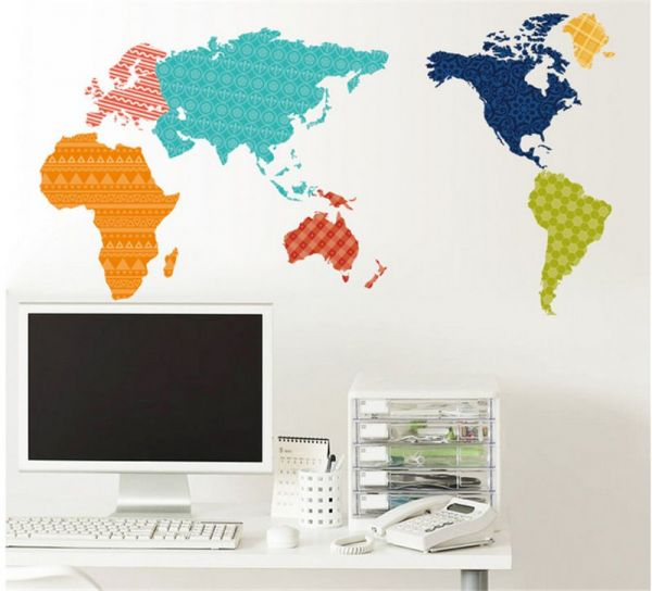 Colorful world map 3d wall sticker original design wall decal for colorful world map 3d wall sticker original design wall decal for kids bedroom living room wallpaper gumiabroncs Images