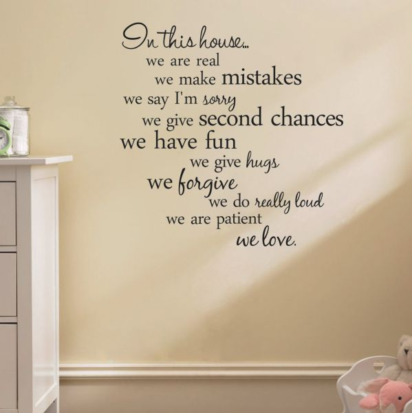 House Rules Quote Wall Stickers Home Decor Living Room Diy Wall Art Decals Removable Sticker