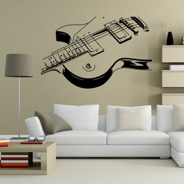 Creative Personality Guitar 3d Wall Sticker Home Decor Wall Decal Kids Bedroom Living Room Wallpaper