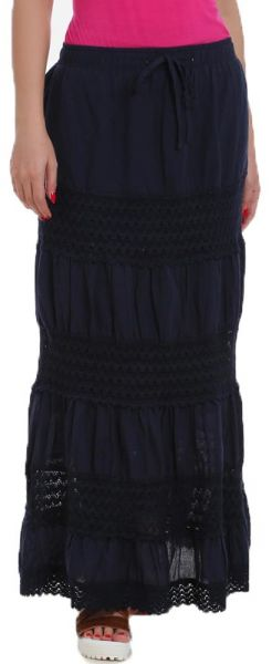 Ravin Blue Cotton casual Skirt For Women