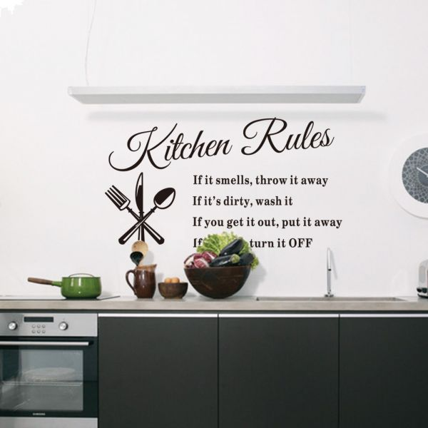 Kitchen Rules Living Room Kitchen Vinyl Carved Wall Stickers Letters Art Quote Decals Home Poster | Souq - UAE
