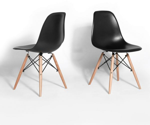 Magnificent Black Shell Dining Chair Mid Century Modern Eames Dsw Set Of 2 Creativecarmelina Interior Chair Design Creativecarmelinacom