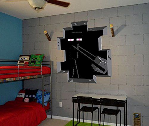 Minecraft Creeper 3D Wall Decal/Cling Home Decor Black Wall Decal For Kids  Bedroom Wallpaper