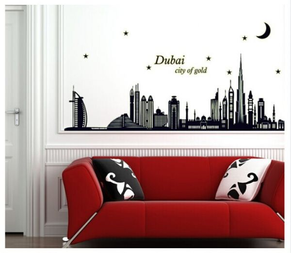 removable decals dubai city silhouette fluorescent wall sticker for