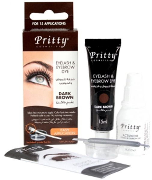 Pritty Eyelash and Eyebrow Dye Kit, Dark Brown, review and buy in ...