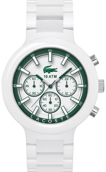 07edd693f Lacoste Borneo Men's White Dial Stainless Steel with Silicone Band  Chronograph Watch - 2010757
