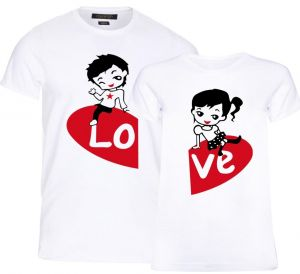 9ad175887d7e Mysmar Cute Anime Completing Love Design Printed T-Shirt For Couples - M,  White