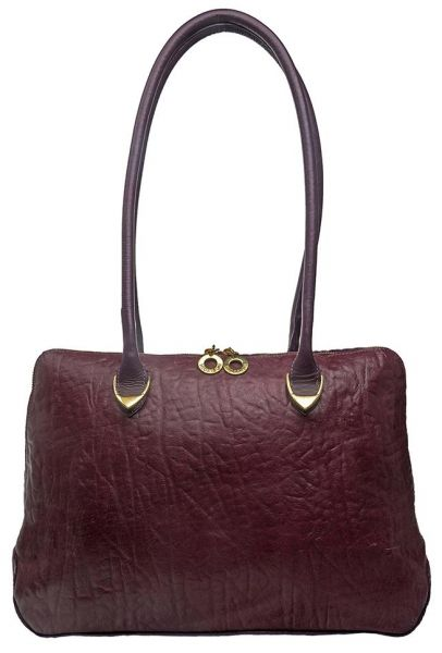 Hidesign Yangtze 03 Handbag For Women Genuine Leather Aubergine
