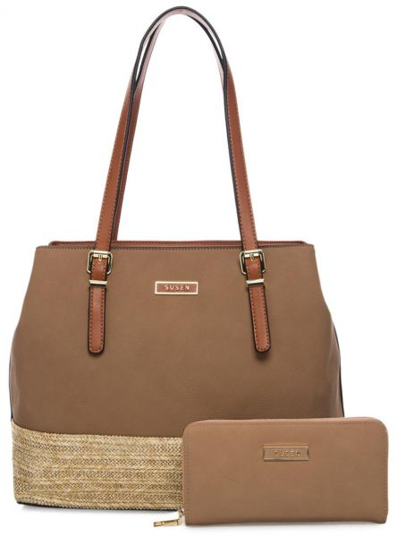 Susen Fashion Shoulder Bag with Wallet for Women - Leather, Mud/Beige