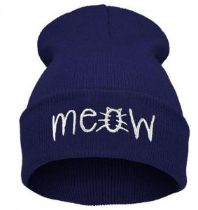 5468a733f1b Women and Men Beanies Cat MEOW Hats Cotton Wool Warm Knitted Caps Casual  Hip Hop