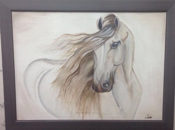 White Horse Oil Painting with frame | Home Decor | kanbkam.com