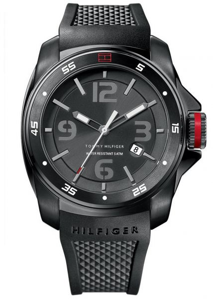 Tommy Hilfiger Windsurf Men S Black Dial Silicone Band Watch