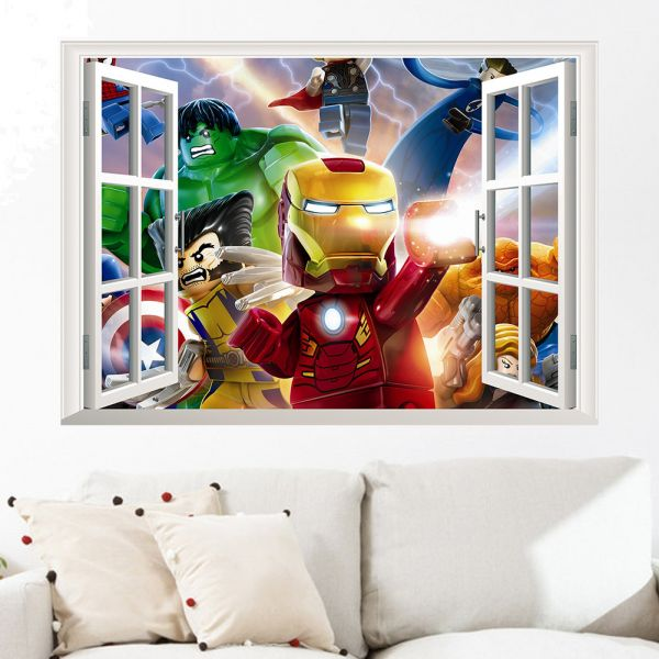 cartoon characters 3d false window wall stickers for kids rooms