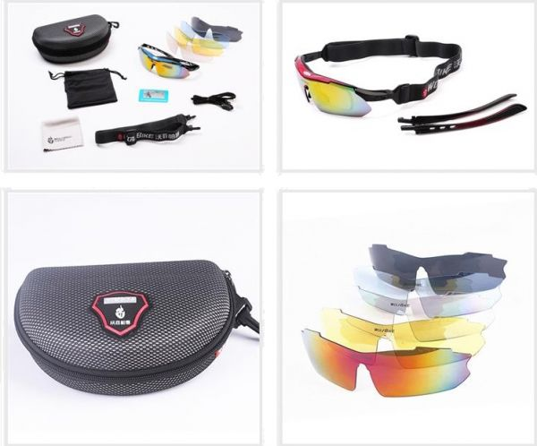 dac308a63ba Wolfbike riding cycling Bicycle Bike UV400 Sports Sun Glasses Goggles with  5 Lens - RED