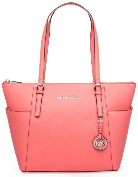3d1bfedafe Michael Kors Jet Set Item E W Saffiano Tote Bag for Women - Coral ...