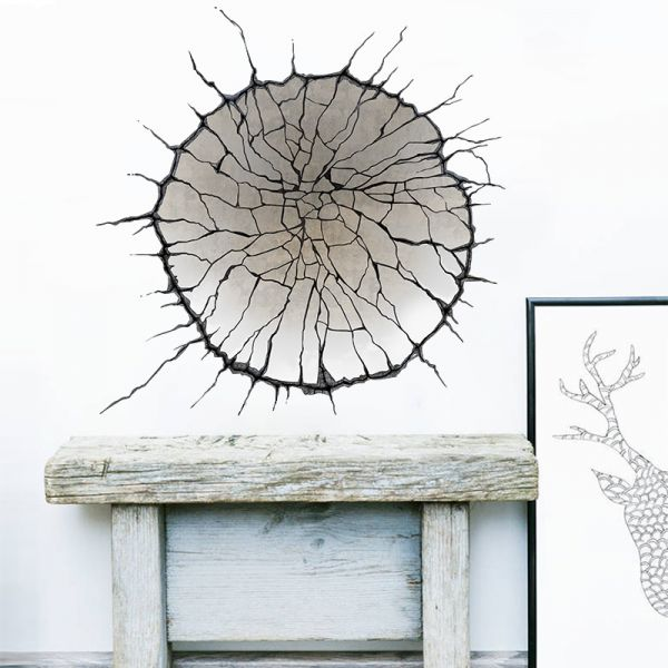 3d broken wall crack wall stickers removeable home decor creative