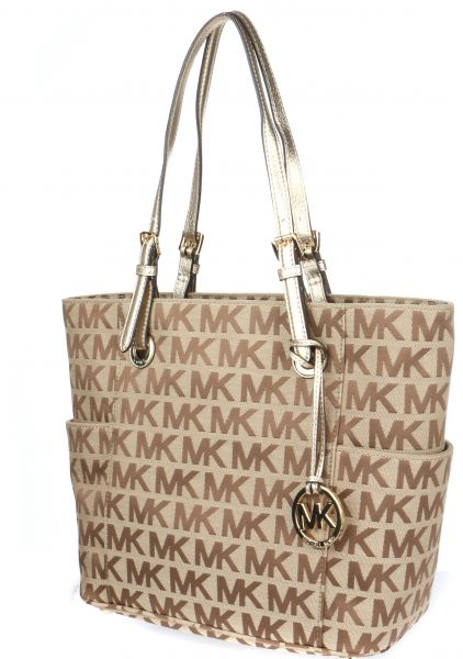 7b0a065d4429 Michael Kors 30S11TTT4J-151 Jet Set Monogram Logo Tote Bag for Women -  Beige | KSA | Souq