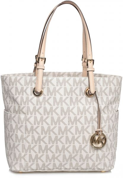 Michael Kors 30s11ttt4b 150 Jet Set Monogram Logo Tote Bag For Women Vanilla