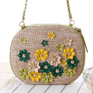 Fashion Flower Rivet Crossbody Bag Handmade Woven Shoulder Bag Women Summer  Style Beach Bag 7827fa5b6c5d3