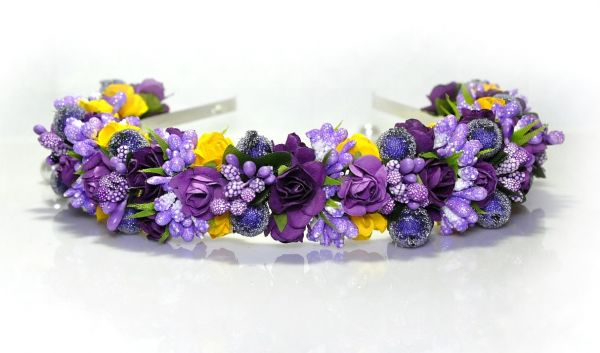 Handmade Violet Yellow Floral Headband Flower Crown Flower
