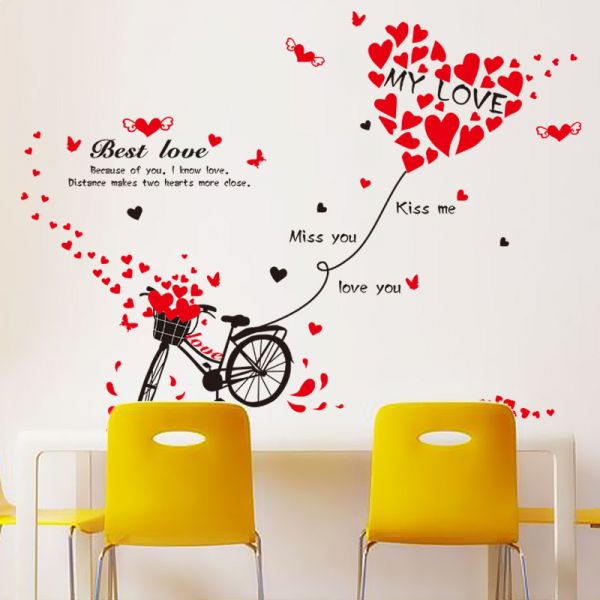romantic bicycle heart wall stickers removable home decoration wall