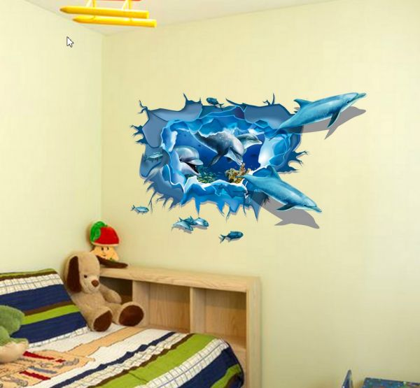 Removable Wall Sticker 3D Dolphins Decal Art DIY Home Wall Decor ...