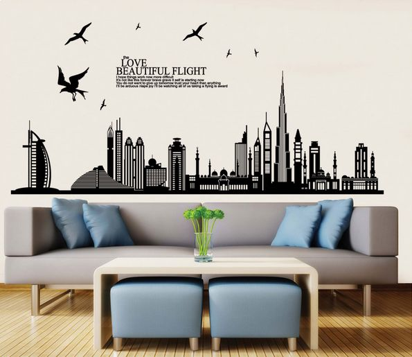 Diy Wall Stickers Dubai Landscape Building Living Room Decals Wallpaper
